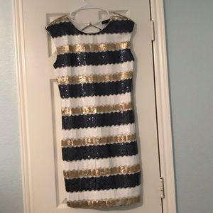 As U Wish Gold, White and Navy Mini Dress